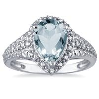 Pear Shaped Aquamarine and Diamond Engraved Ring in 10K White Gold