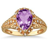 2 Carat Pear Shaped Amethyst and Diamond Ring in 10K Yellow Gold