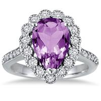 5 Carat Pear Shape Amethyst and Diamond Ring in 14K White Gold