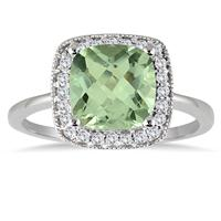 1.30 Carat Cushion Cut Green Amethyst and Diamond Ring in 14K White Gold