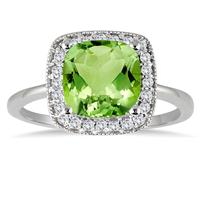 Cushion Cut Peridot and Diamond Halo Ring in 14K White Gold