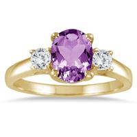 1 3/4 Carat Amethyst and Diamond Three Stone Ring 14K Yellow Gold
