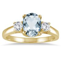 Aquamarine and Diamond Three Stone Ring 14K Yellow Gold