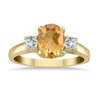 1 3/4 Carat Citrine and Diamond Three Stone Ring 14K Yellow Gold