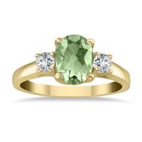 1 3/4 Carat Green Amethyst and Diamond Three Stone Ring 14K Yellow Gold