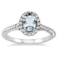 1 Carat Aquamarine and Diamond Halo Rope Ring in 10K White Gold