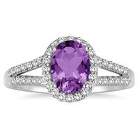 1 1/4 Carat Oval Amethyst and Diamond Ring in 10K White Gold