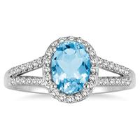 1 1/4 Carat Oval Blue Topaz and Diamond Ring in 10K White Gold