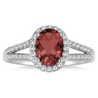 1 1/4 Carat Oval Garnet and Diamond Ring in 10K White Gold