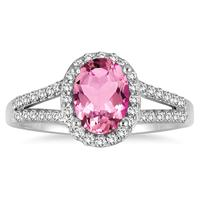1 1/4 Carat Oval Pink Topaz and Diamond Ring in 10K White Gold