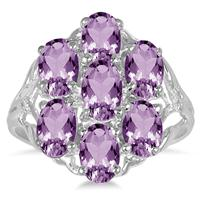 3 Carat TW Genuine Amethyst and Diamond Ring in .925 Sterling Silver