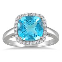 3 1/4 Carat Cushion Cut Blue Topaz and Diamond Halo Ring in 10K White Gold