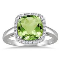 9mm Cushion Cut Peridot and Diamond Halo Ring in 10K White Gold