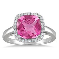 3.50 Carat Cushion Cut Pink Topaz and Diamond Halo Ring in 10K White Gold