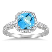 5MM Cushion Cut Blue Topaz and Diamond Halo Ring in 10K White Gold
