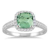 5MM Cushion Cut Green Amethyst and Diamond Halo Ring in 10K White Gold