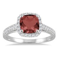 5MM Cushion Cut Garnet and Diamond Halo Ring in 10K White Gold