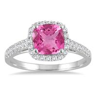 5MM Cushion Cut Pink Topaz and Diamond Halo Ring in 10K White Gold