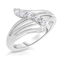 White Sapphire Split Shank Ring in .925 Sterling Silver