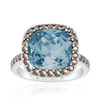 4ct Cushion Cut Crystal Aqua and Marcasite Ring