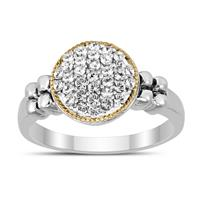 White Sapphire Cluster Ring in 14K Gold and .925 Sterling Silver
