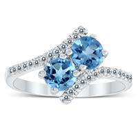 Deals on Genuine Blue Topaz And White Topaz Two Stone Ring In 925 Silver
