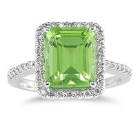Peridot and Diamond Halo Cocktail Ring in 14K White Gold