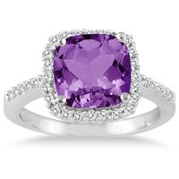 2 1/2 Carat Cushion Cut Amethyst and Diamond Ring 14K White Gold