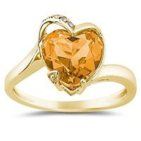 Heart Shaped Citrine and Diamond Curve Ring in 14K Yellow Gold