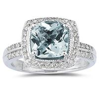 2 1/2 Carat Cushion Cut Aquamarine & Diamond Ring in 14K White Gold