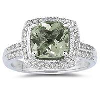 2 1/2 Carat Cushion Cut Green Amethyst & Diamond Ring in 14K White Gold