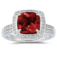 2 1/2 Carat Cushion Cut Garnet & Diamond Ring in 14K White Gold