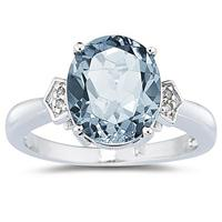 Aquamarine and Diamond Ring in 10K White Gold