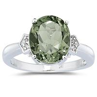 Green Amethyst & Diamond Ring in 10k White Gold
