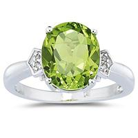 Peridot & Diamond Ring in 10k White Gold