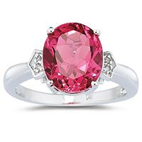 Pink Topaz & Diamond Ring in 10k White Gold