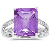 Deals on 7 Carat Emerald Cut Amethyst And Diamond Ring 10k White Gold