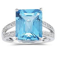 7 Carat Emerald  Cut Blue Topaz and Diamond Ring 10k White Gold