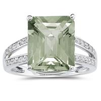7 Carat Emerald  Cut Green Amethyst and Diamond Ring 10k White Gold