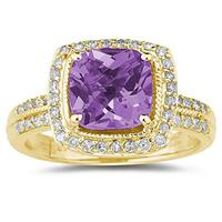 2 1/2 Carat Cushion Cut Amethyst & Diamond Ring in 14K Yellow Gold