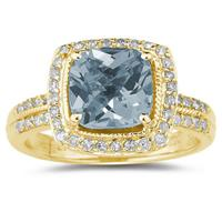 2 1/2 Carat Cushion Cut Aquamarine & Diamond Ring in 14K Yellow Gold