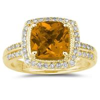 2 1/2 Carat Cushion Cut Citrine & Diamond Ring in 14K Yellow Gold