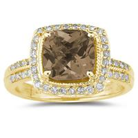 2 1/2 Carat Cushion Cut Smokey Quartz & Diamond Ring in 14K Yellow Gold