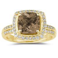 2 1/2 Carat Cushion Cut Smokey Quartz & Diamond Ring in 14K Yellow Gold