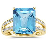 Emerald  Cut Blue Topaz and Diamond Ring 10k Yellow  Gold