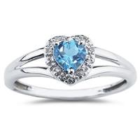 Heart Shaped Blue Topaz and Diamond Ring