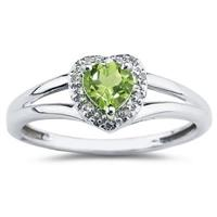 Heart Shaped Peridot  and Diamond Ring