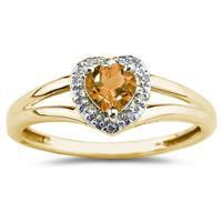Heart Shaped Citrine and Diamond Ring