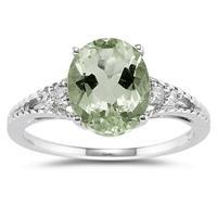 Oval Cut Green Amethyst & Diamond Ring in 14k White Gold