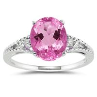 Oval Cut Pink Topaz & Diamond Ring in 14k White Gold